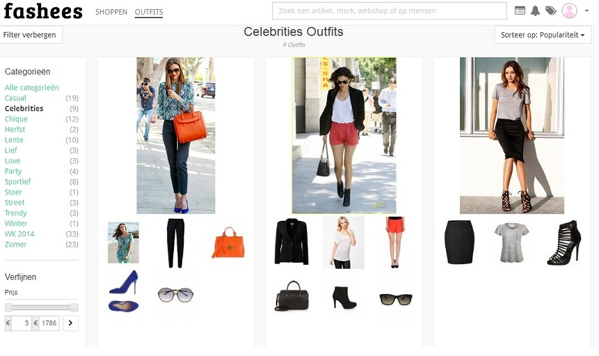 Fashees.nl Celebrities outfits webshop