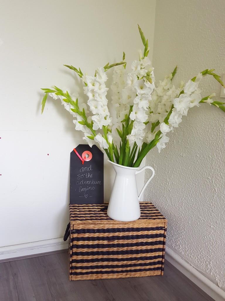 gladiolen bloemen ikea vaas