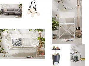 tuinmeubelen urban look, lounge bank buitenbar tuinkruk lichtsnoer
