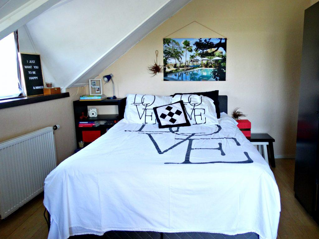 foto op textielposter review slaapkamer bed interieur home