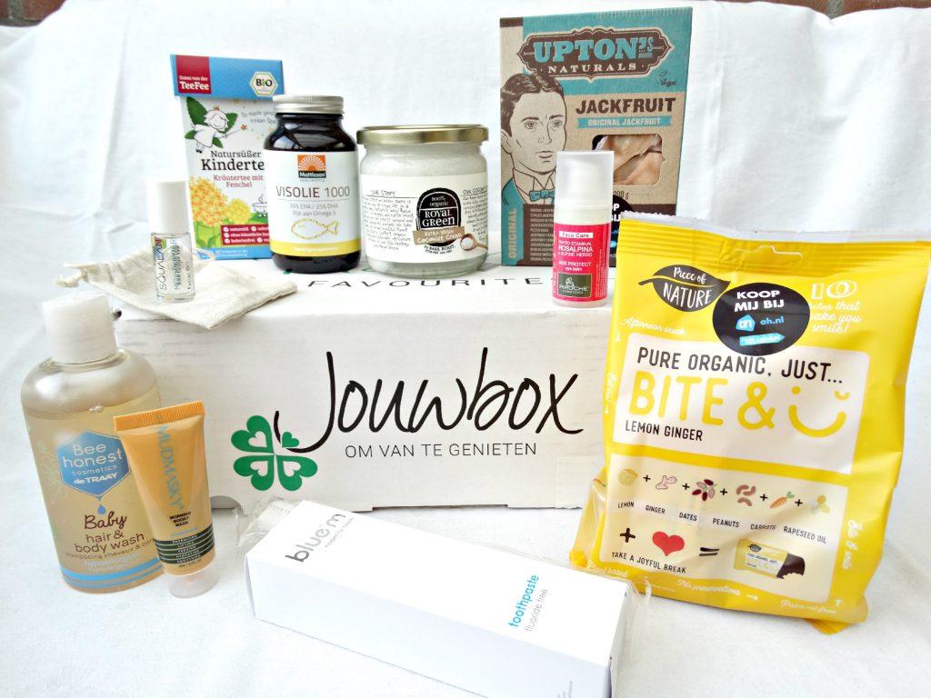jouwbox editie 2 blue m tandpasta kokosolie vegan snack plantaardige cosmetica huidverzorging