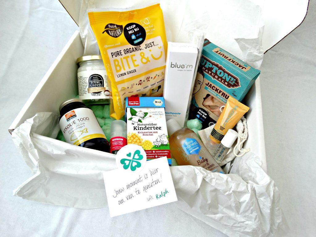 unboxing jouwbox editie 2 vegan food gezichtsverzorging visolie kinderthee vegan snack lemon mudmasky