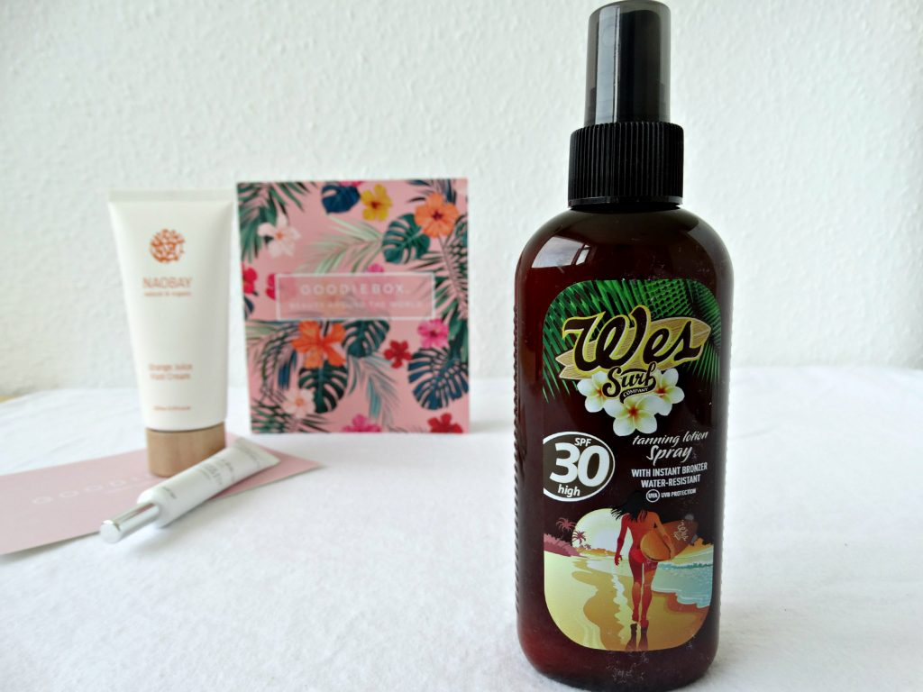 wes surf tanning oil goodiebox review