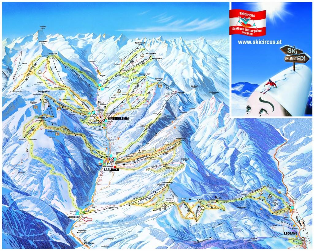 Een plattegrond van het skigebied. Bron