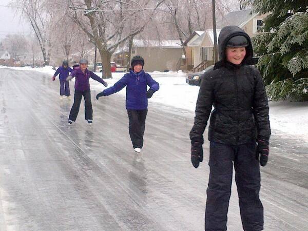 Je kan zelfs op straat schaatsen