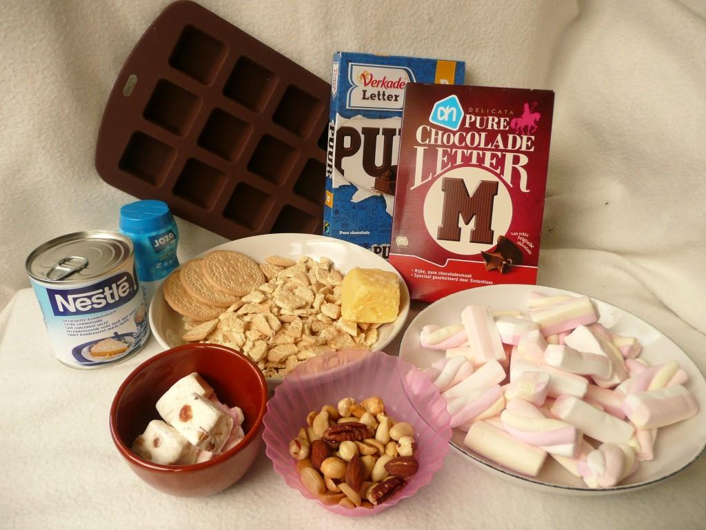 De ingrediënten voor de fudge