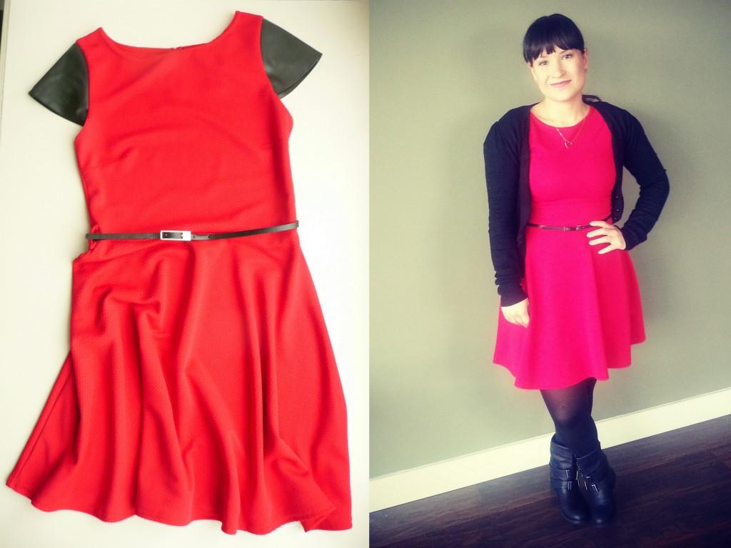 Mijn nieuwe rode jurk met nep leren korte mouwen & OOTD