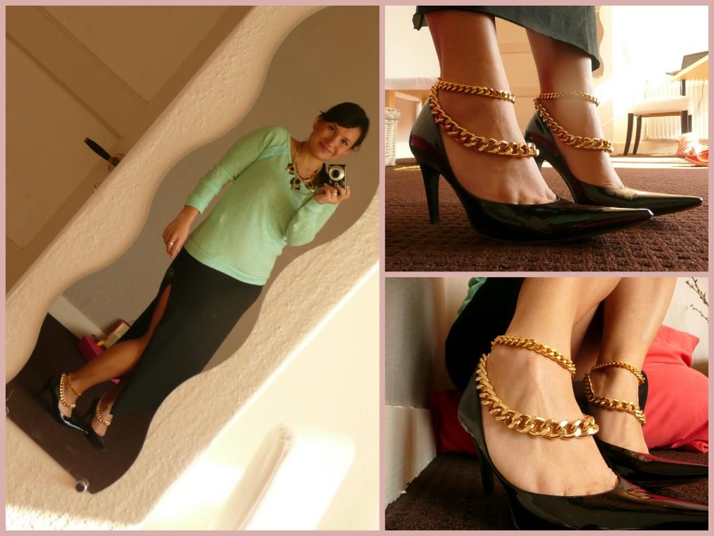 Zwarte high heels met beide enkelbanden