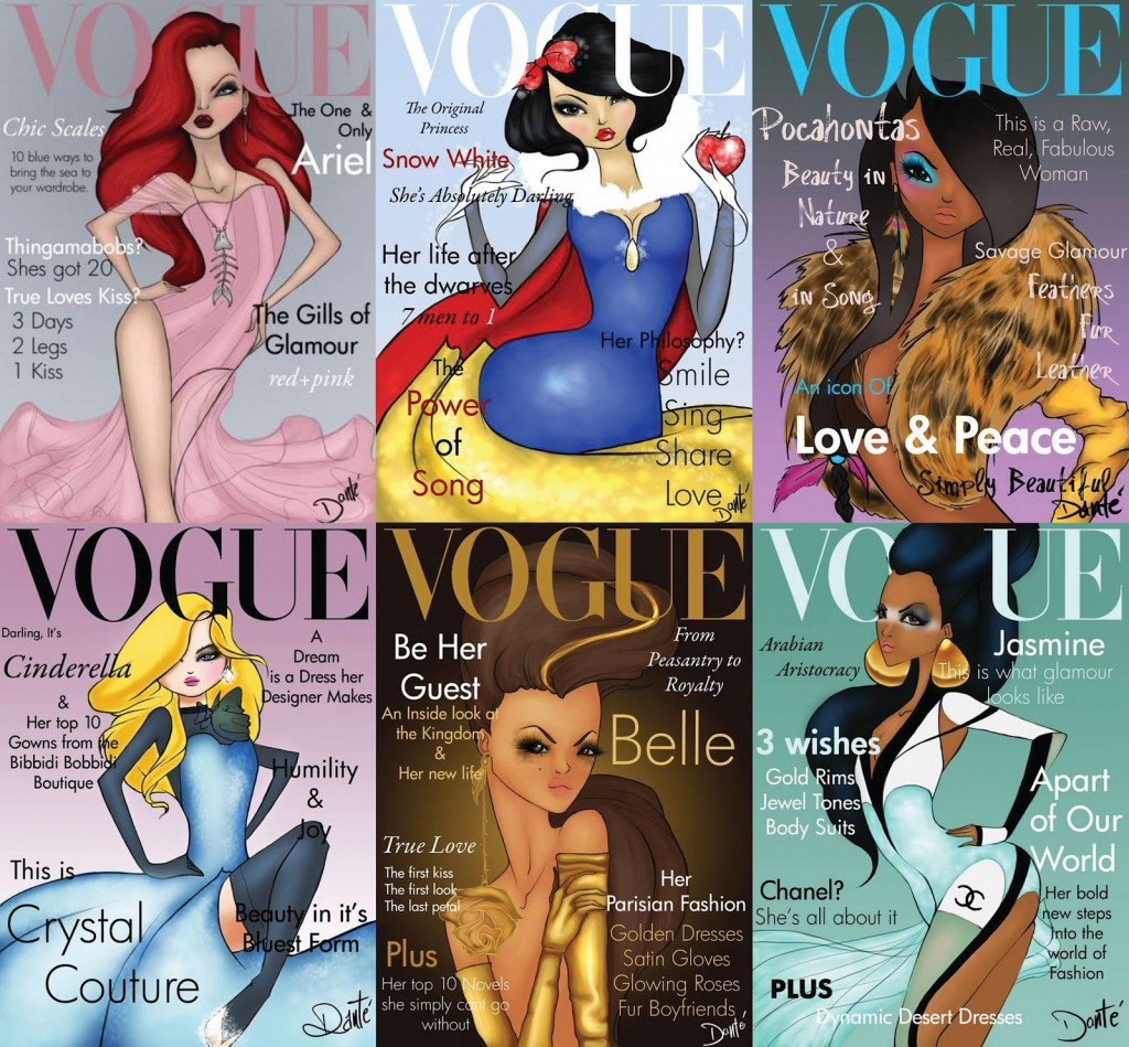 De Disney prinsessen als Vogue cover model