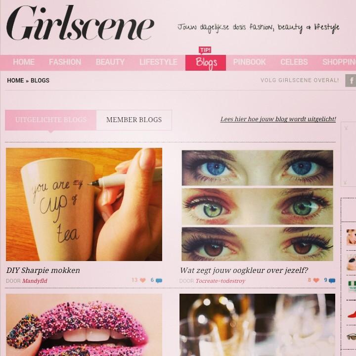 Ik sta bovenaan op de uitgelicht pagina van Girlscene