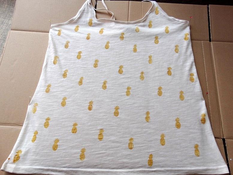 DIY ananas top, stempel, drogen, Pineappel tee, stamp, dry