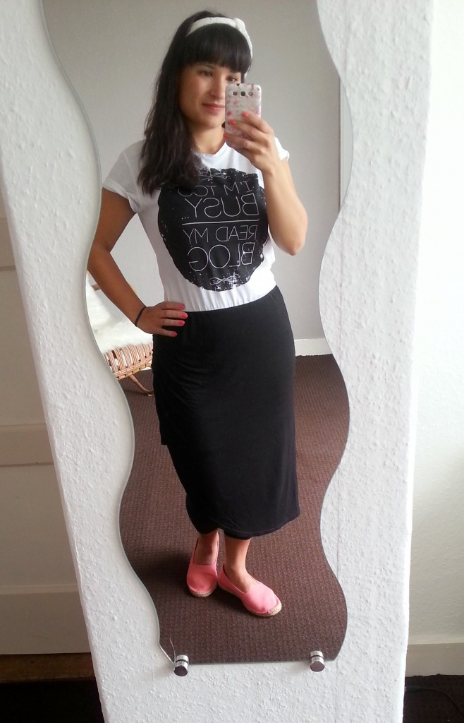 Diary OOTD Blogger Style Espadrilles Even & Odd, Midi Rok Gina Tricot, top Coolcat, Haarband Primark