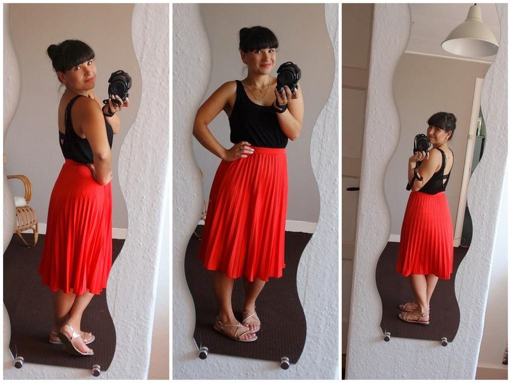 Diary OOTD Red Skirt Primark Black Top H&M sandalen Tamaris
