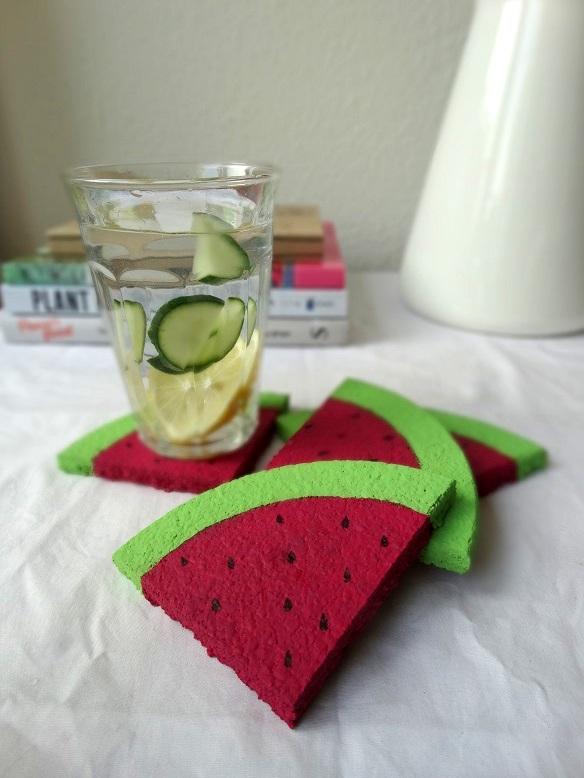 DIY- Onderzetter- watermeloen- resultaat