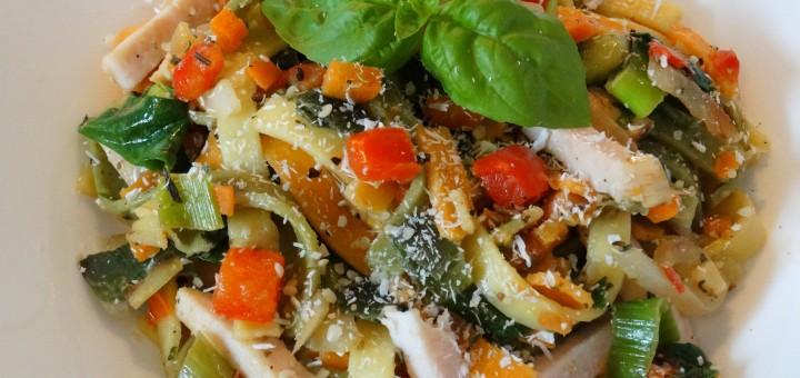 Recept-pasta-kokosmelk-groente-gerookte-kip