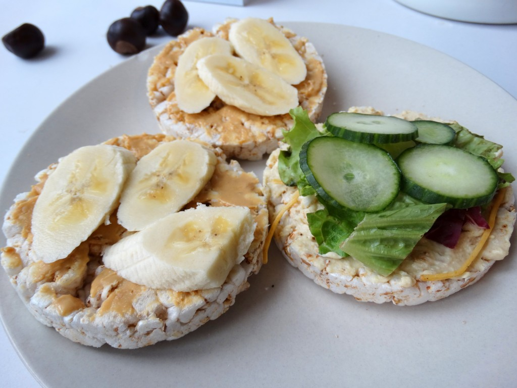 Lunch-rijstwafels-pindakaas-banaan-diary