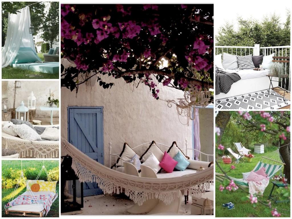 hangmat buiten bed tuin inspiratie