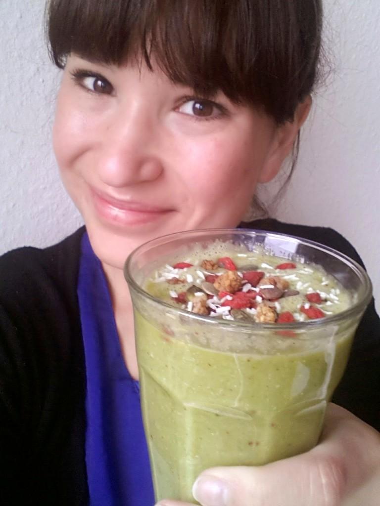 Green shake happy face