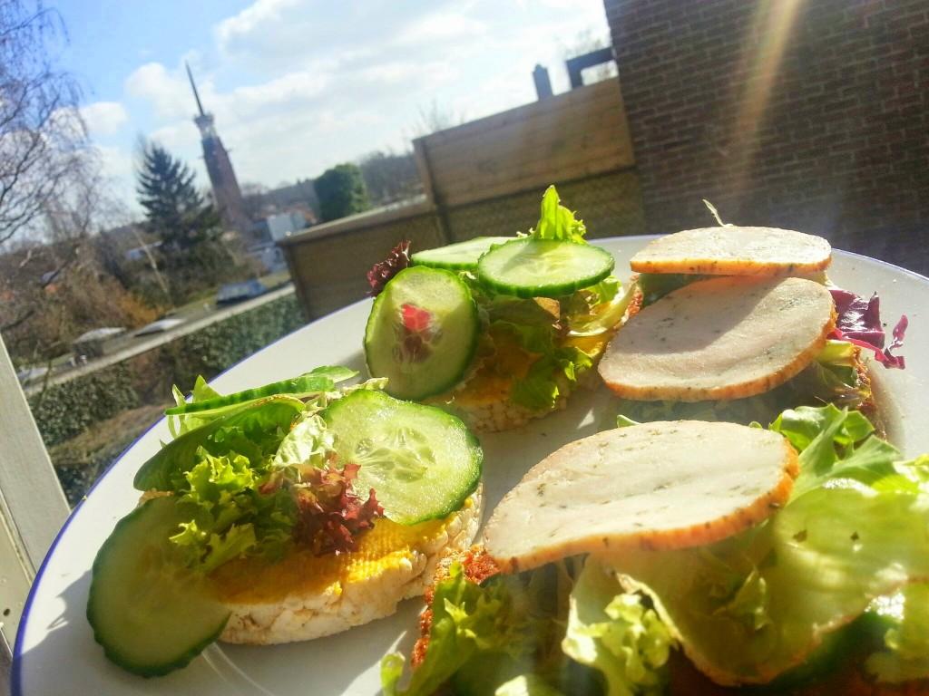 Lunch Rijstwafel humus gezond eten