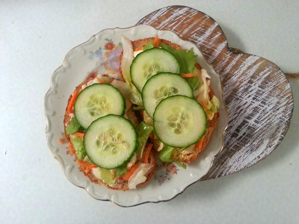 speltbrood humus sla komkommer