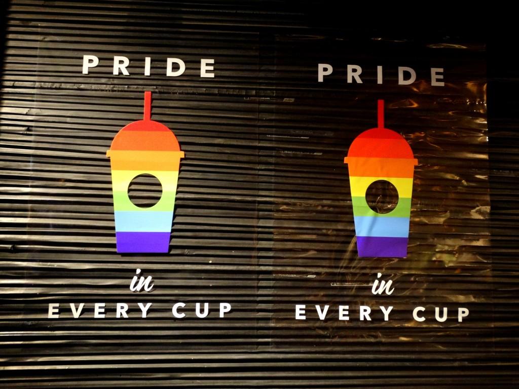 Amsterdam gay pride  Starbucks
