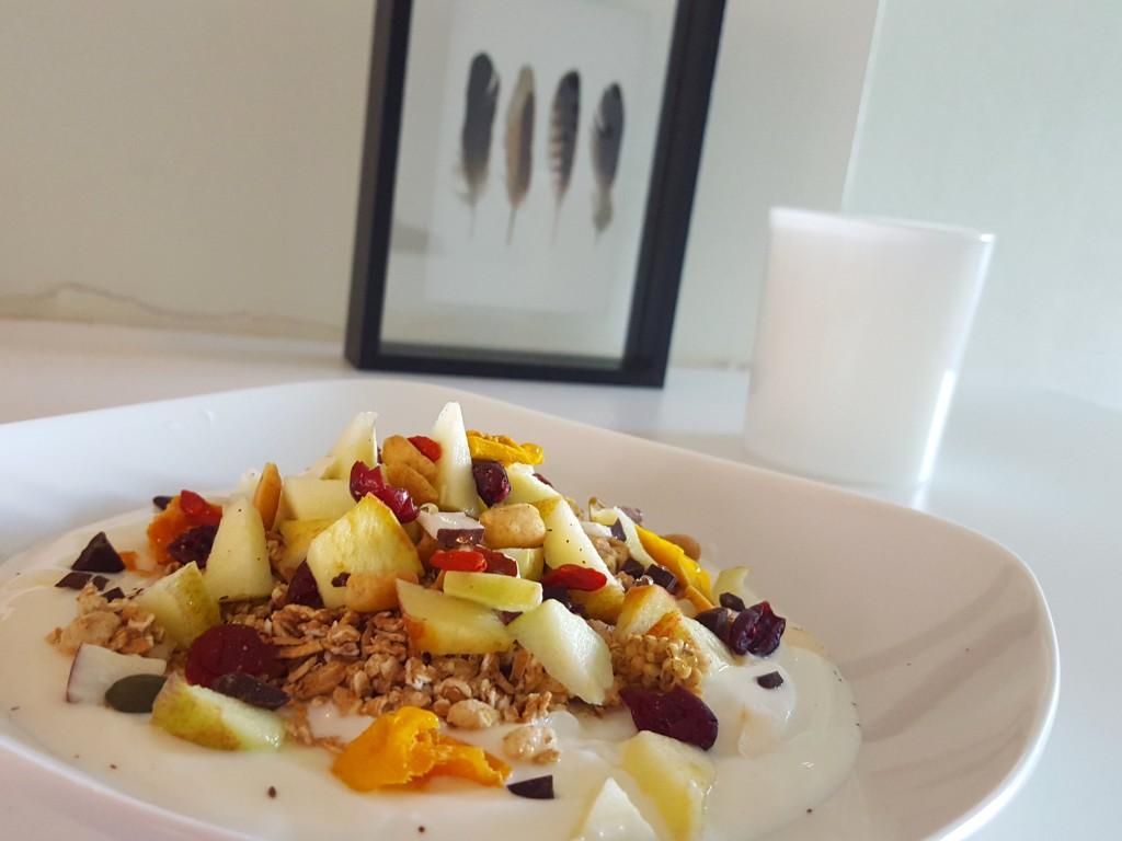Ontbijt yoghurt fruit