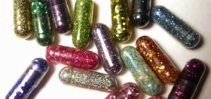 glitter poep pillen