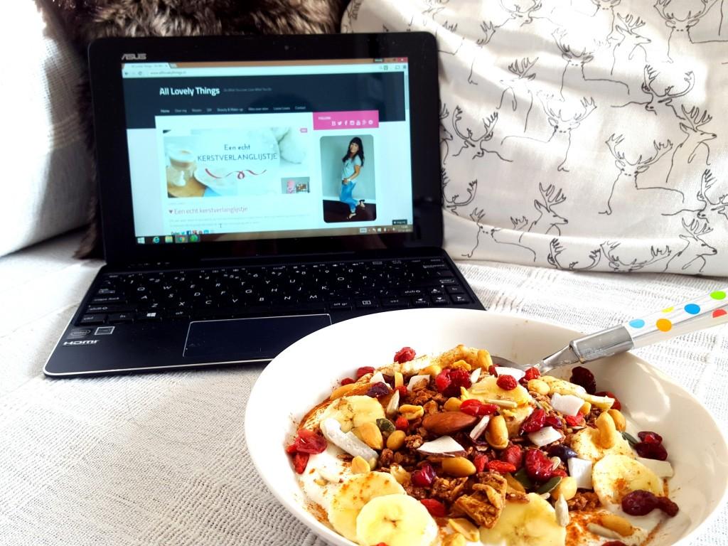 asus chi t100 bloggen met gezond ontbijt