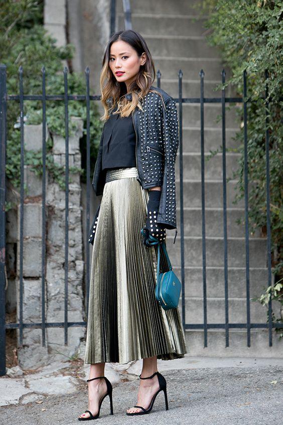 outfit voor de feestdagen plisse rok