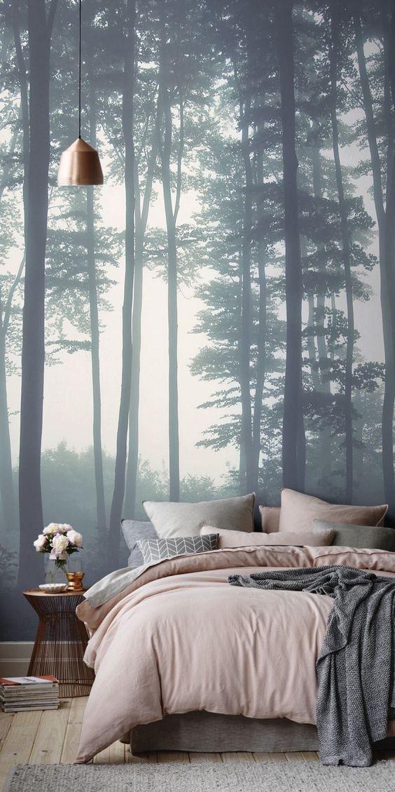 fotobehang slaapkamer inrichten - toutes les belles choses
