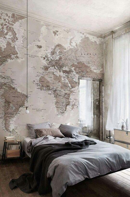 wereldkaart slaapkamer inrichten behang