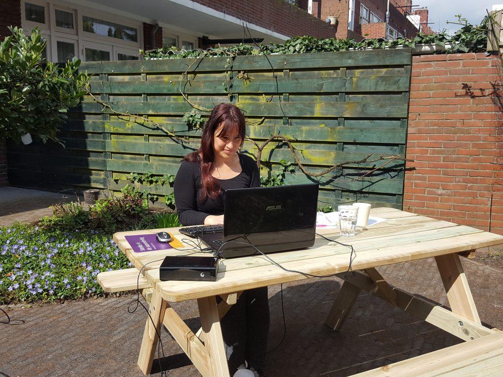 picknick tafel werken in de zon