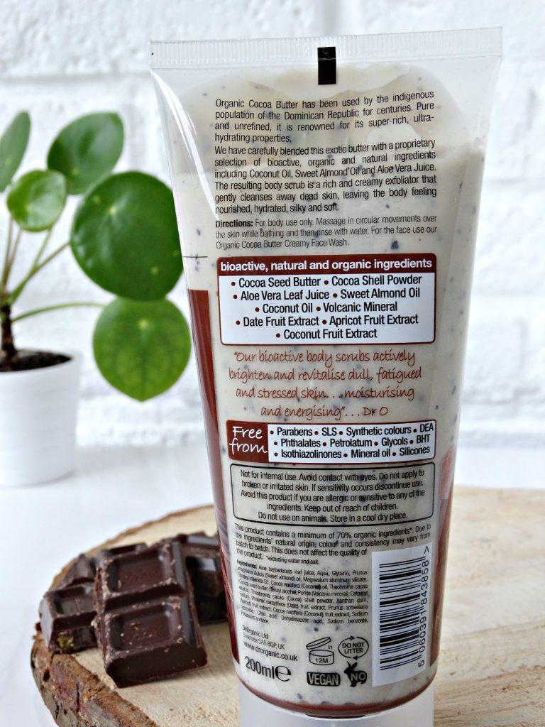 dr organic body scrub cocoa butter