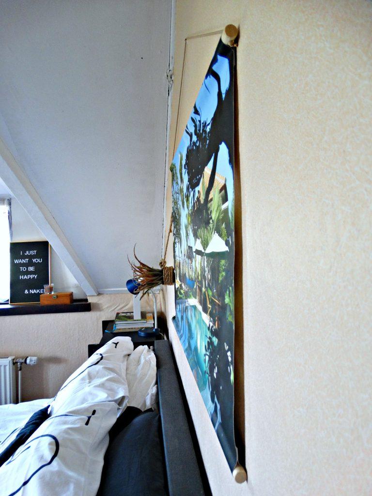 foto op textielposter memobord interieur slaapkamer