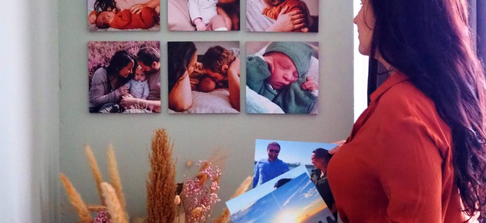 wanddercoratie mixpix fototegels newborn shoot